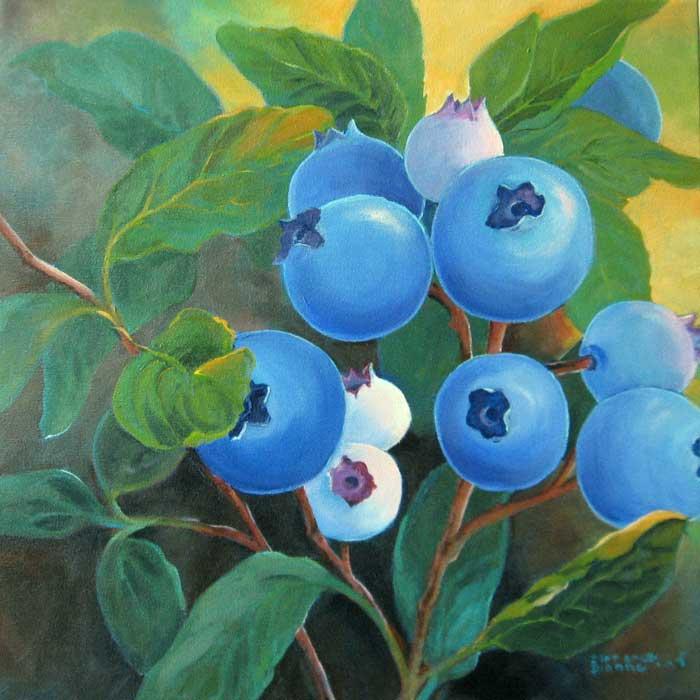 Florence Dionne, Bleuets, 18 x 18 po