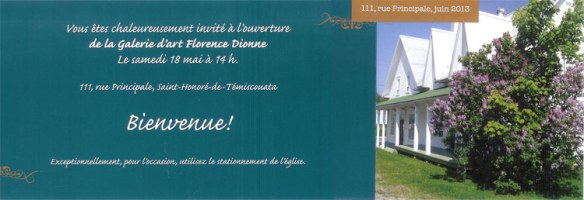 Invitation Ouverture Galerie Florence Dionne
